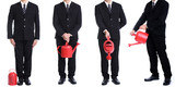 Businessman hold red watering pot