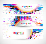 Holi festival header colorful set grunge vector illustration
