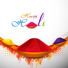 Holi festival colorful background with gulal card design vector