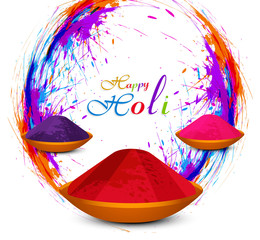 Beautiful Holi powder in colorful festival background vector