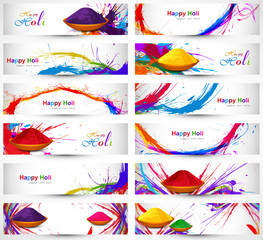Header and banner set happy holi beautiful indian festival color