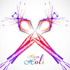 Pichkari of holi festival colorful background illustration vecto