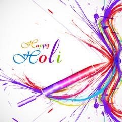Pichkari of holi festival card colorful grunge stylish wave vect