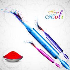 Beautiful Pichkari for holi colorful background celebration illu
