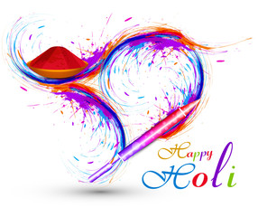 Vector colorful Pichkari for stylish holi celebration background