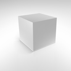 Cube with reflections and shadows, vector illustration