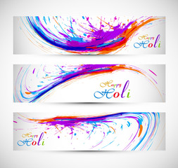 Beautiful holi with colorful banner and header set grunge vector