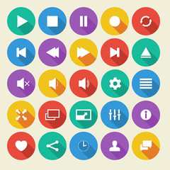 Media player flat vector icons with long shadow.