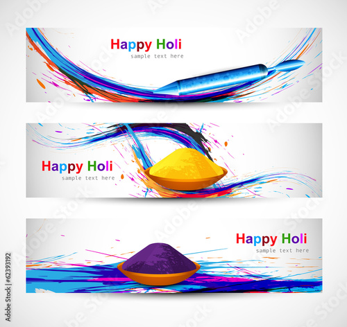 Header and banner set holi with colorful colours splash design