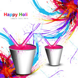 Holi colorful wave with bucket full of water colors and pichkari