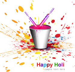 Indian festival Holi with bucket full of colors and pichkari col