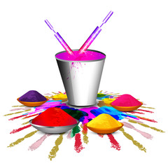 Beautiful holi with bucket full of colors and pichkari colorful