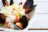 risotto with vegetable  and mussels