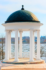 beautiful white gazebo high above the lake