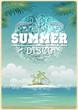 Vintage seaside view poster