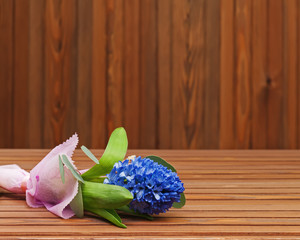 Bouquet from hyacinth flower on wooden background.