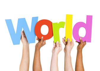Group of Diverse People Holding Word World