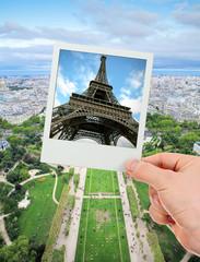 Polaroid frame of Eiffel tower over The Champ de Mars of Paris