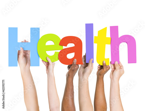 Multi-Ethnic Group of People Holding The Word Health