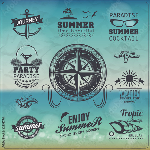 Set of Vintage summer typography design with labels