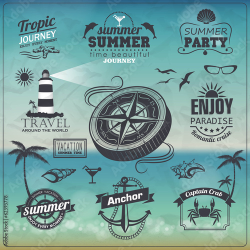Set of Vintage summer typography design with labels,