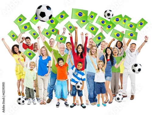 Multi-Ethnic and Diverse Happy People Holding Brazilian Flag