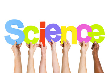 Multi Ethnic People Holding The Word Science