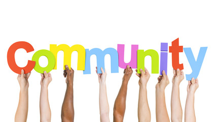 Diverse People's Hand Holding Word Community