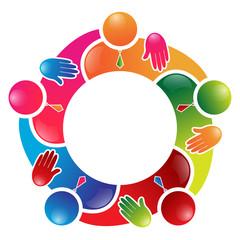 Colorful team work people circle