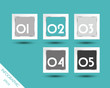turquoise square stickers with white numbers