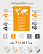 orange infographics with long world sticker