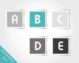 turquoise square stickers with letters and shadow