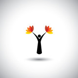 people icon as tree with colorful leaves - conservation concept