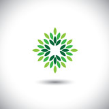 stylized vector green leaves icon arranged in pattern - eco conc