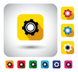 gear or cogwheel icon on a flat design button - vector graphic.