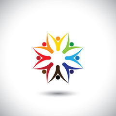 happy colorful people community in circle - concept vector