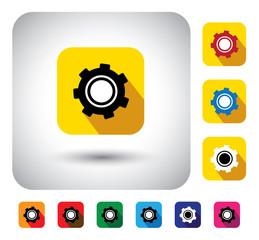 gear or cogwheel icon on a flat design button - vector graphic.