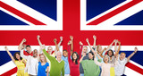 World People Raising Arms on United Kingdom Flag Background