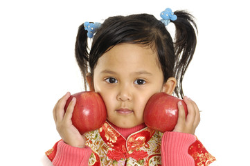 Close up child with apple