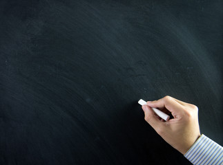 Hand on chalkboard