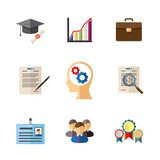Business career colored icons