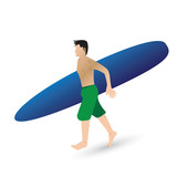 the man and surfboard