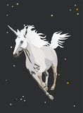 unicorn galloping in the night sky