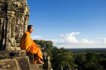 Contemplating Monk in Cambodia