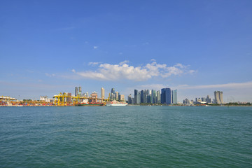 The Singapore port with Singapore City Skyline