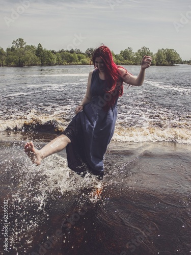 woman having fun in the water