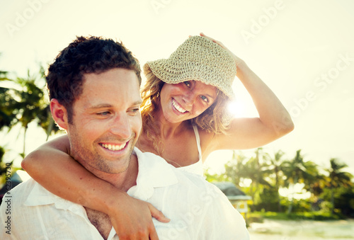 Love Couple Relaxing on the Beach