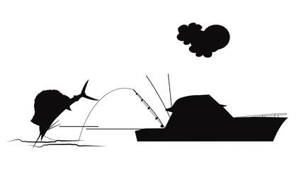 sailfish on hook in silhouette