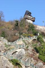 Der Schloßbergsteig zum Uhrturm auf dem Grazer Schloßberg