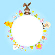 Easter Bunny & Friends Round Frame Blue